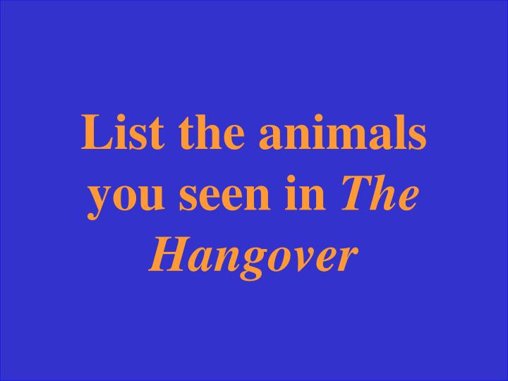 List the animals you seen in