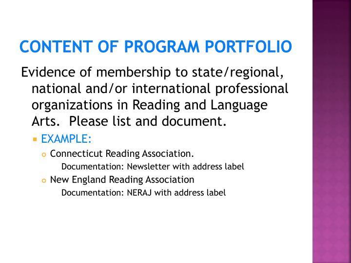 Content of Program Portfolio
