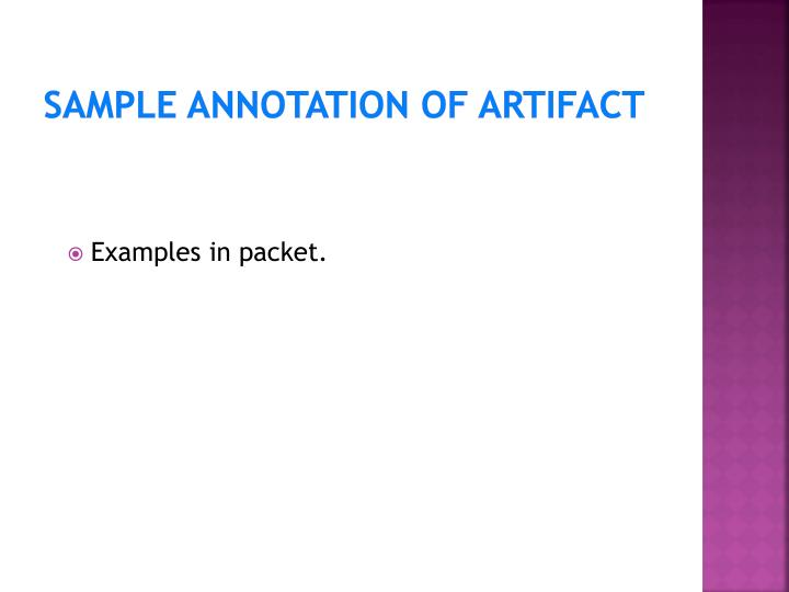 Sample Annotation of Artifact