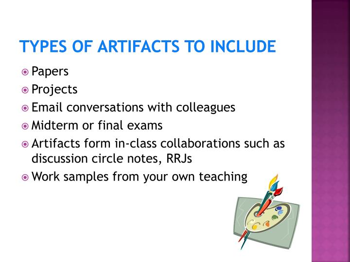 Types of Artifacts to Include