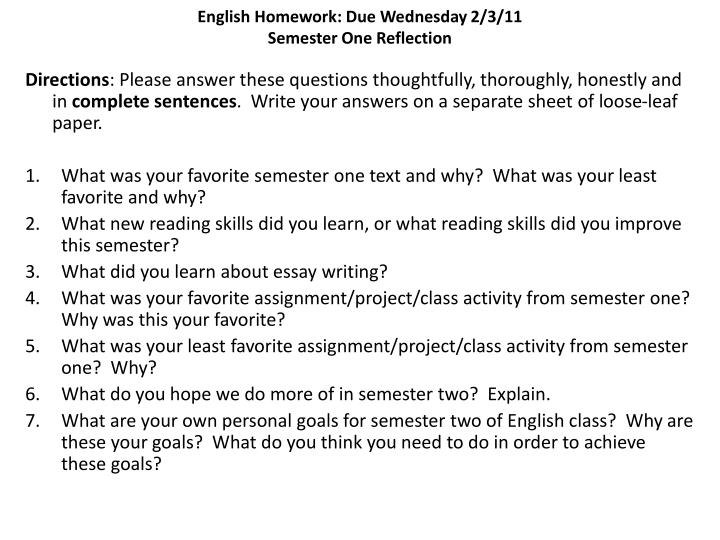 English Homework: Due Wednesday 2/3/11