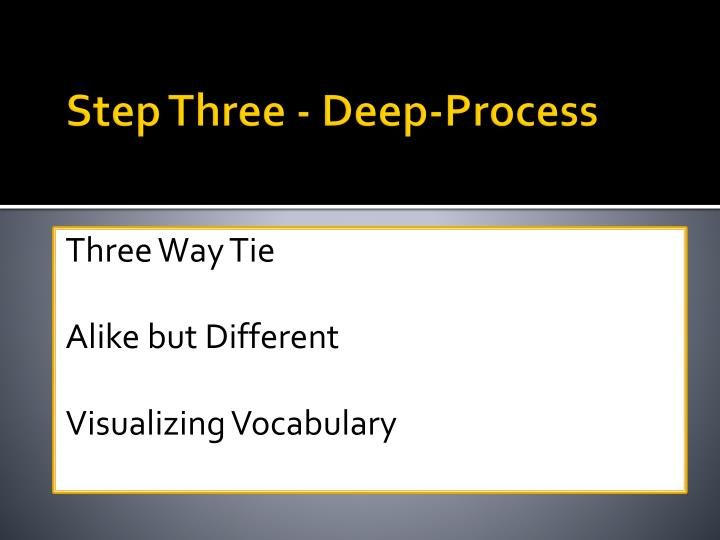 Step Three - Deep-Process