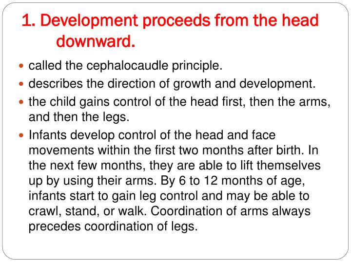 1 development proceeds from the head downward