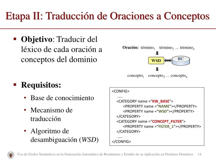 Etapa II: Traducción de Oraciones a Conceptos