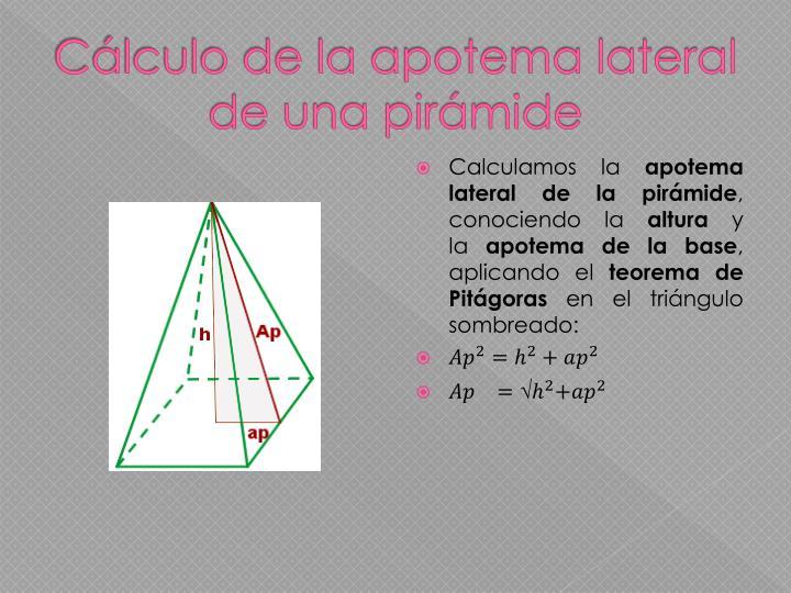 Cálculo de la apotema lateral de una pirámide