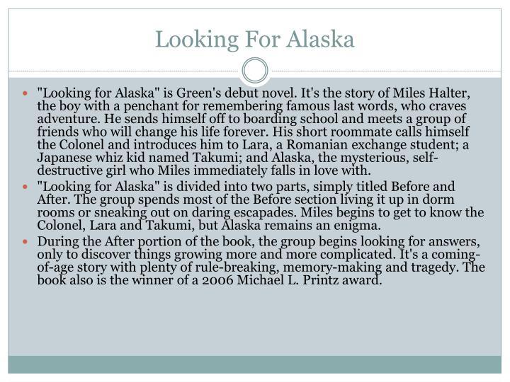 Before Looking For Alaska: John Green PowerPoint Presentation