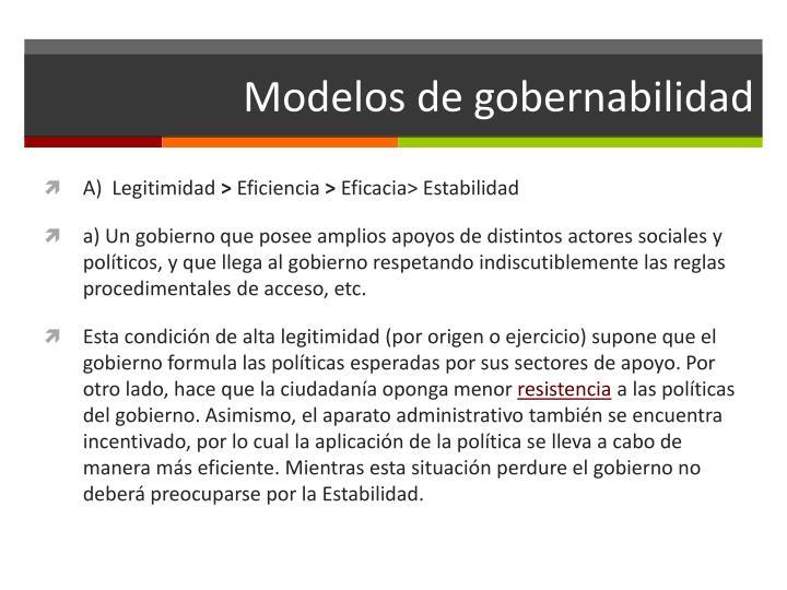 Modelos de gobernabilidad