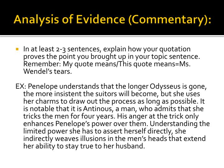Analysis of evidence for an essay