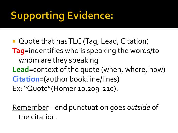 Essay supporting evidence