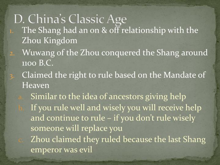 D. China's Classic Age