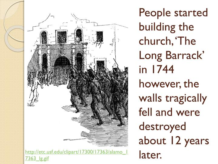 People started building the church, 'The Long Barrack' in 1744 however, the walls tragically fell and were destroyed about 12 years later.