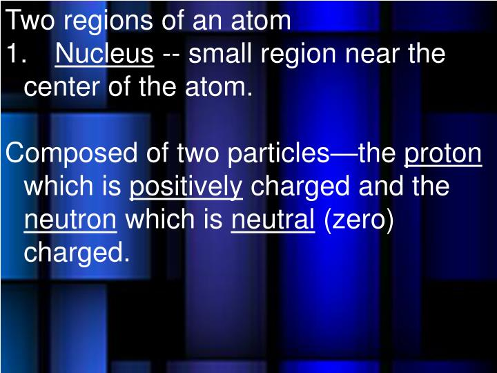 Two regions of an atom