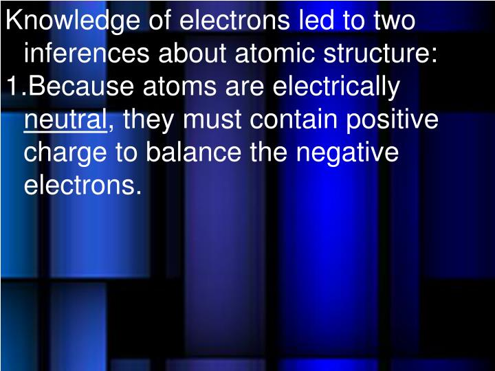 Knowledge of electrons led to two inferences about atomic structure: