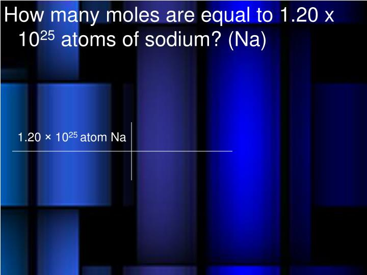 How many moles are equal to 1.20 x 10