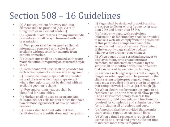 Section 508 – 16 Guidelines