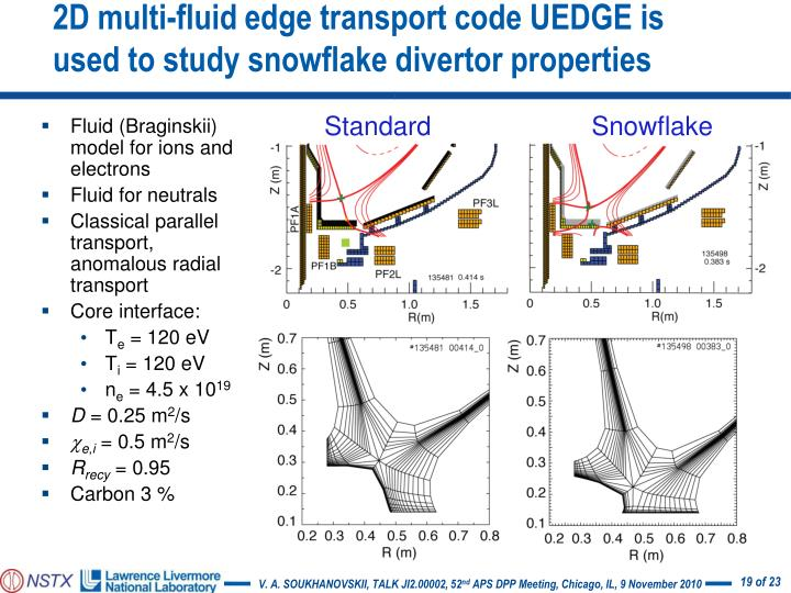 2D multi-fluid edge transport code UEDGE is used to study snowflake divertor properties