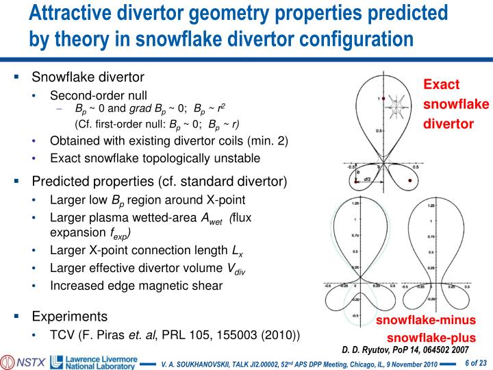 Attractive divertor geometry properties predicted by theory in snowflake divertor configuration
