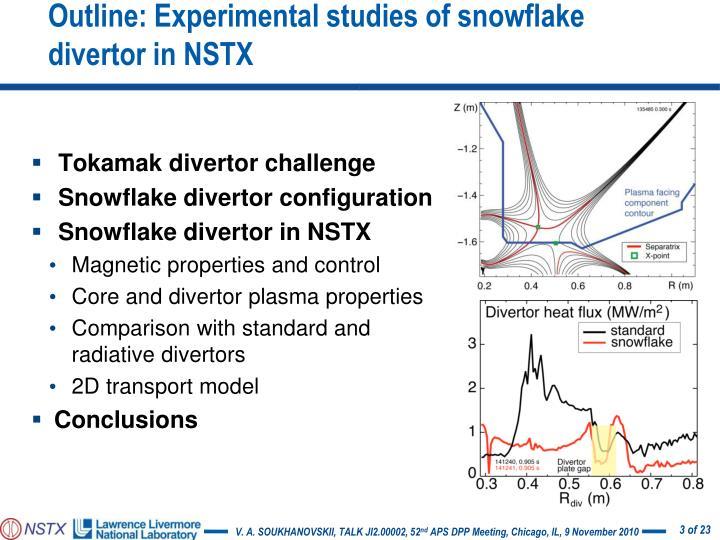 Outline: Experimental studies of snowflake divertor in NSTX