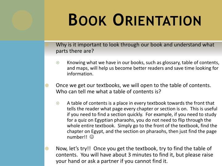 Book Orientation