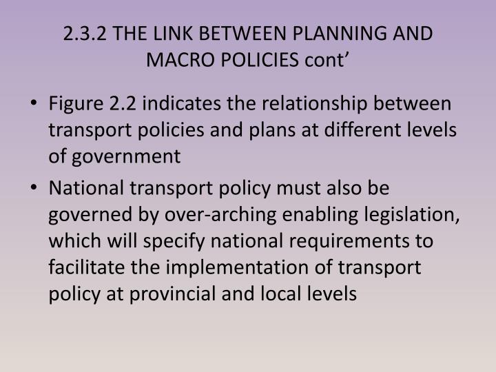 2.3.2 THE LINK BETWEEN PLANNING AND MACRO POLICIES cont'