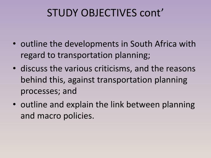 Study objectives cont