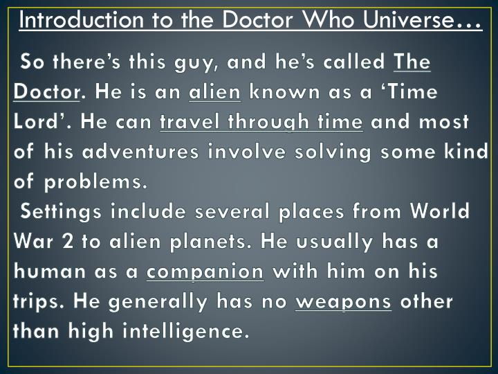 Introduction to the Doctor Who Universe…