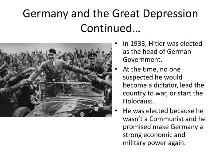 Germany and the Great Depression Continued…