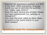 questions used for interpretation