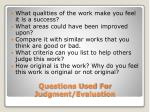 questions used for judgment evaluation