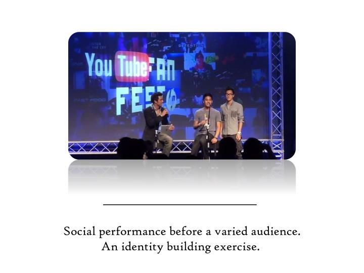 Social performance before a varied audience.
