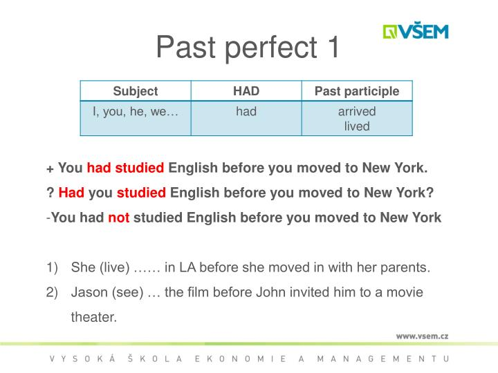Past perfect 1