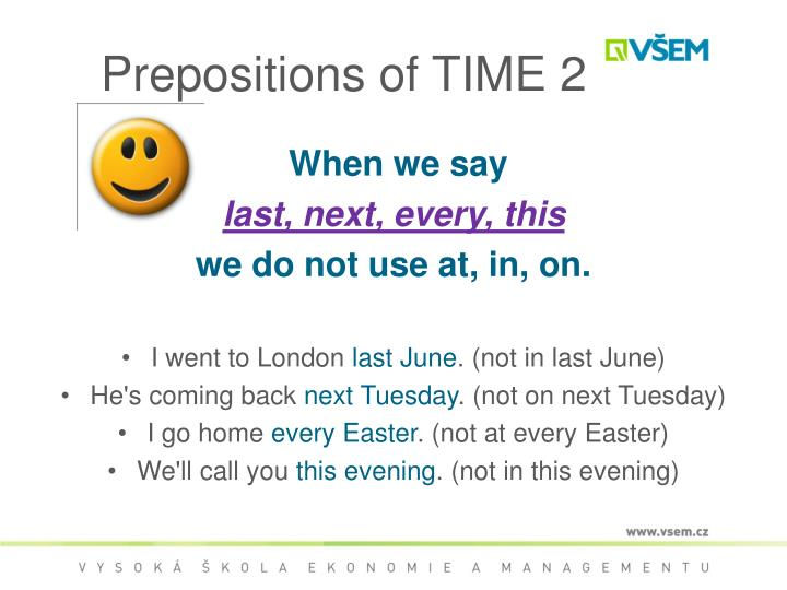 Prepositions of TIME 2