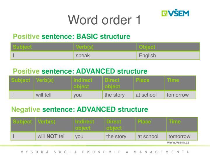 Word order 1