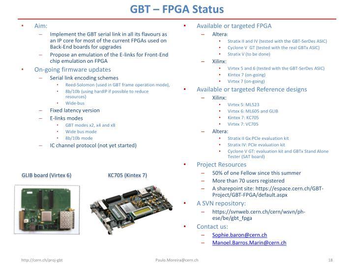 GBT – FPGA Status