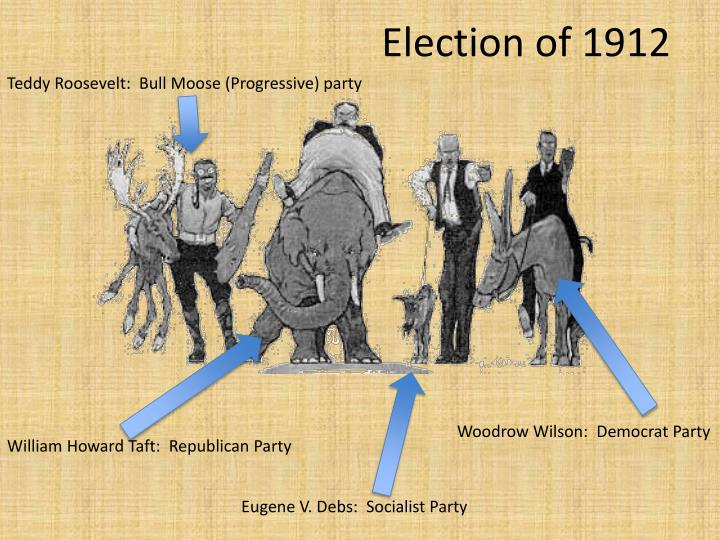 Teddy Roosevelt:  Bull Moose (Progressive) party