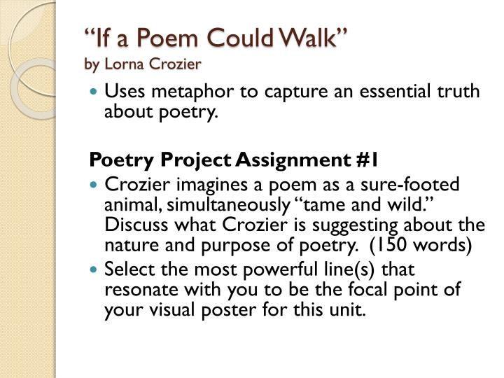 """""""If a Poem Could Walk"""""""