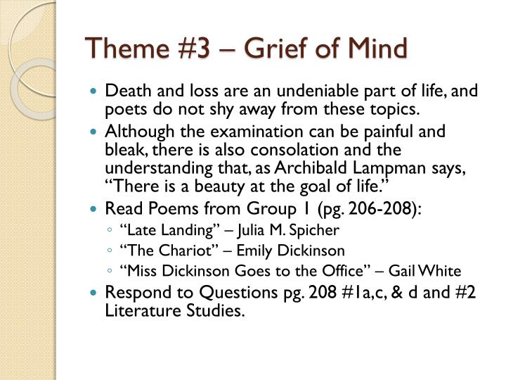 Theme #3 – Grief of Mind