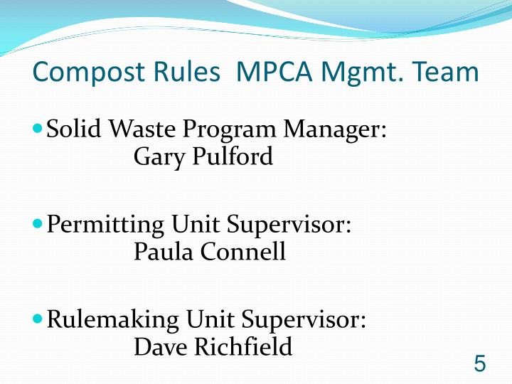 Compost Rules  MPCA Mgmt. Team
