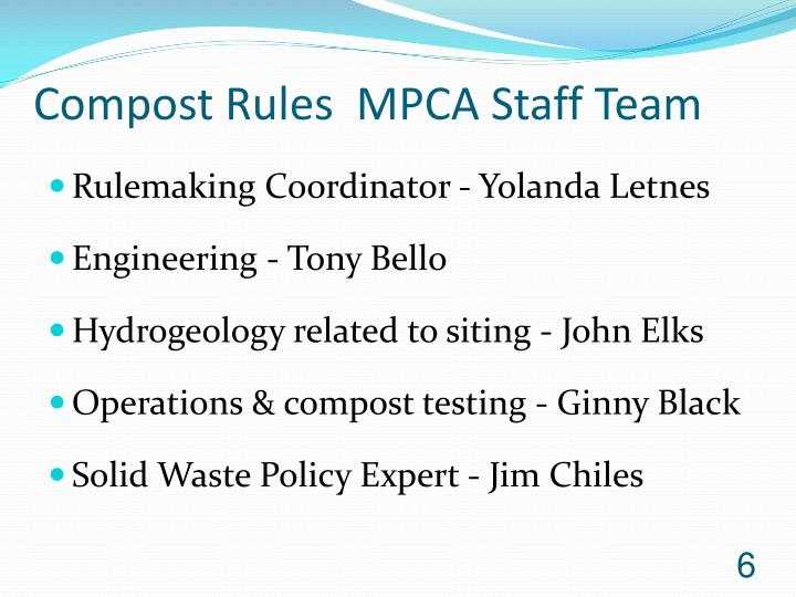 Compost Rules  MPCA Staff Team