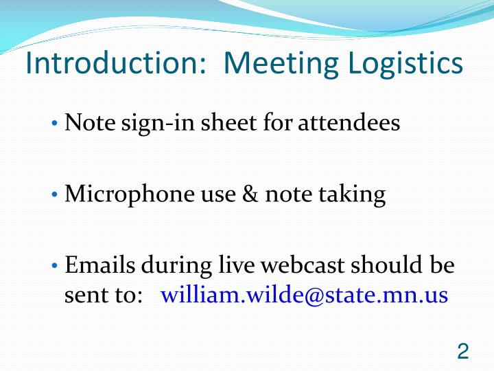 Introduction meeting logistics