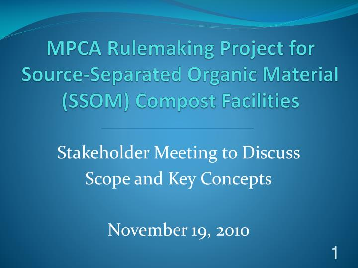 MPCA Rulemaking Project for