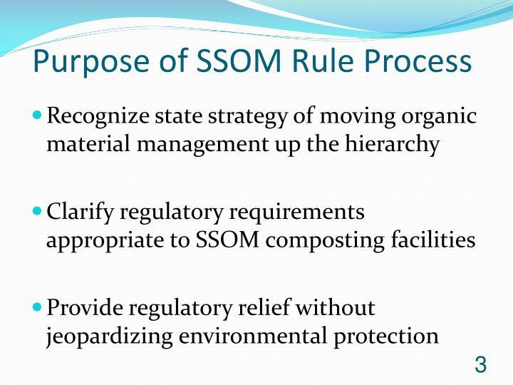 Purpose of SSOM Rule Process