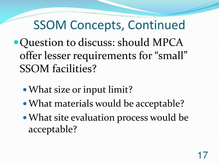 SSOM Concepts, Continued