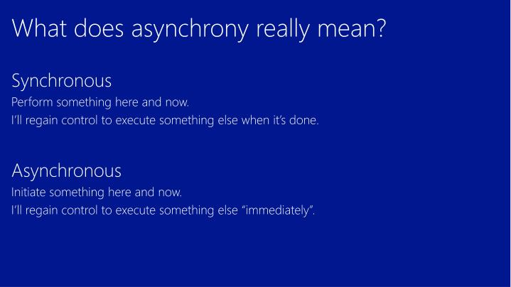What does asynchrony really mean?