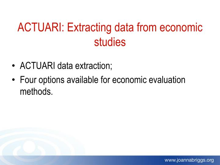 ACTUARI: Extracting data from economic studies