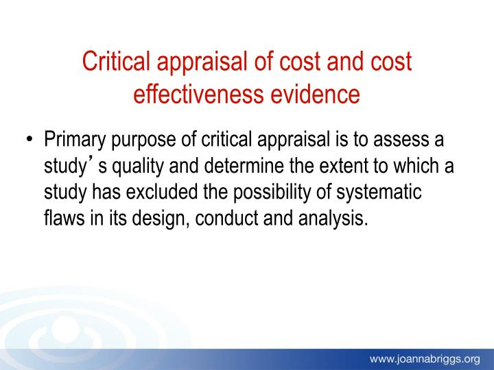 Critical appraisal of cost and cost effectiveness evidence