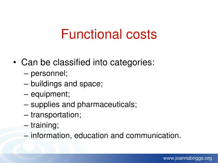 Functional costs