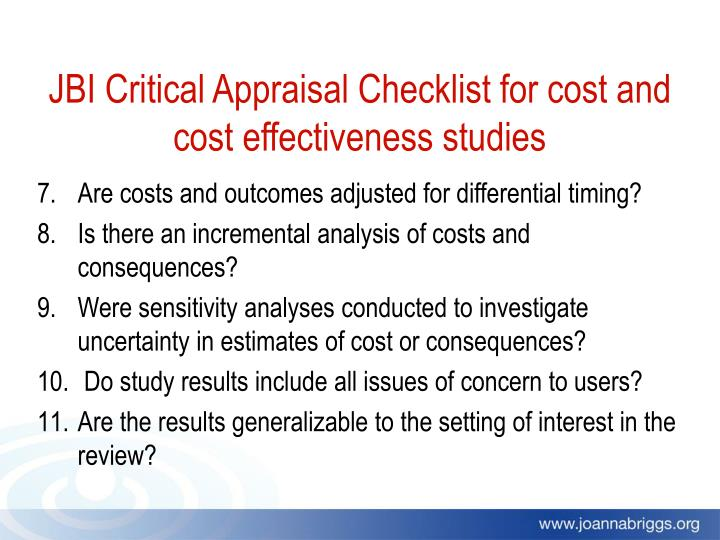 JBI Critical Appraisal Checklist for cost and cost effectiveness studies
