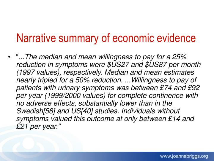 Narrative summary of economic evidence