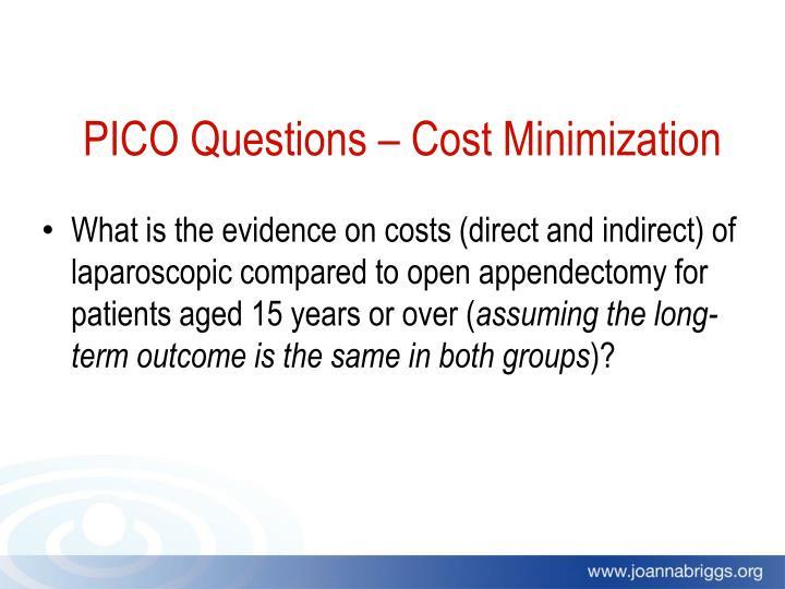 PICO Questions – Cost Minimization